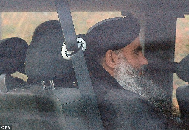 Leaving: Terror suspect Abu Qatada is driven out of Long Lartin high security prison in Worcestershire, after winning the latest round in his battle against deportation