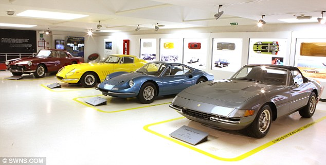 Beautiful: Pininfarina was responsible for some of the Italian manufacturer's most iconic models over the past 60 years. Shown here are, from left, the Ferrari 330 GTC, 275 GTB, Dino and Daytona Spider