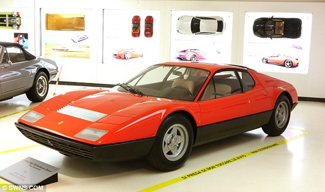 The 1971 Ferrari BB Berlinetta Boxer, one of dozens of exclusive Italian sports cars including Lancias and Alfa Romeos that Pininfarina was involved with