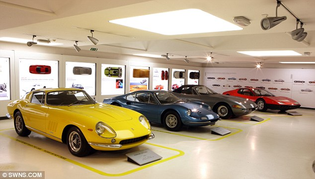 Fitting tribute: A selection of Ferraris penned by late designer Sergio Pininfarina have done in display at a new exhibition in Italy. Shown, from left, are the Ferrari 275 GTB, Ferrari Dino, Ferrari Daytona Spider and 512BB