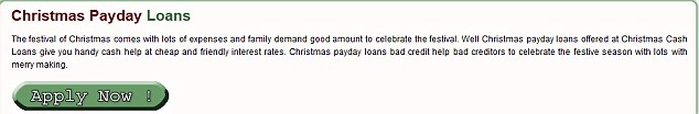Christmascashloansfast.co.uk offers payday loans for Christmas spending.