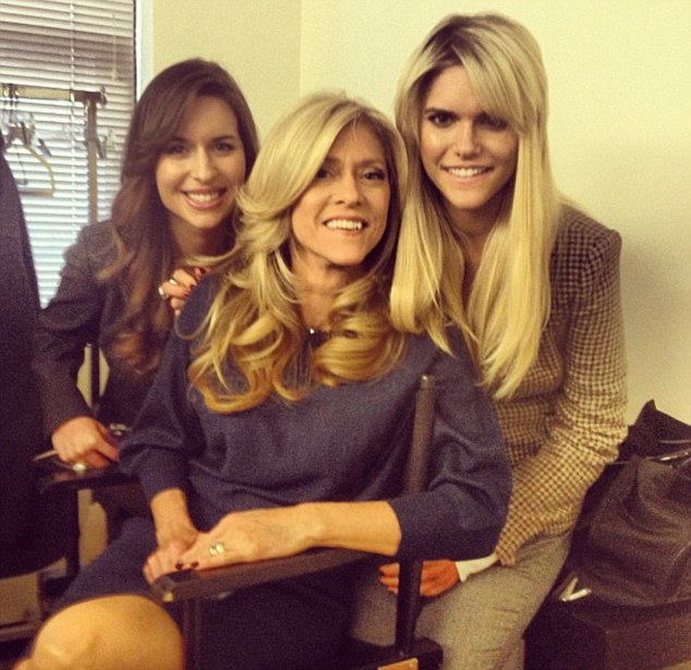 Lauren tweeted this picture backstage at the Katie Couric show, with her twin sister Brittany and mother Cheryl. Her 'passive prosthetic arm' can be seen