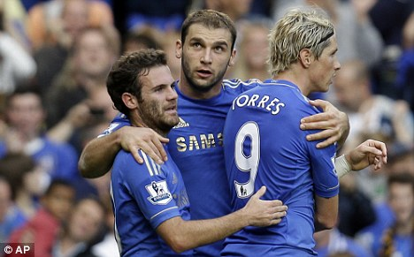 Best of friends: Torres and Juan Mata (left) are now team-mates at Chelsea