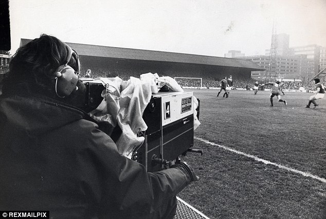 Capturing the action: The Match of the Day cameras at Portman Road for Ipswich Town vs. Liverpool in 1974