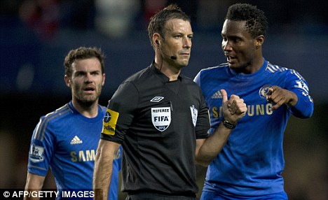 Storm: Referee Mark Clattenburg stands accused of making racist comments towards Chelsea players during the Premier League defeat to Manchester United