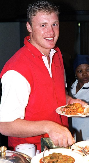 England all-rounder Andrew Flintoff tucks into a curry in Durban