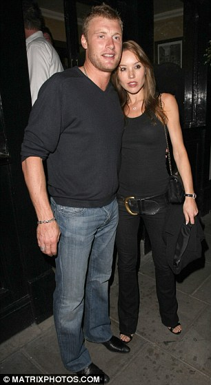 England cricket star Freddie Flintoff, leaving the Punch Bowl pub in Mayfair with his wife Rachael Wools