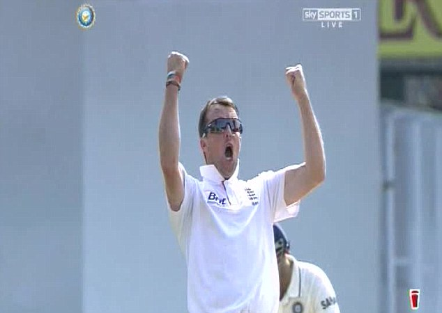 Spin king: Graeme Swann celebrates one of his four wickets on day one of the first Test at Ahmedabad