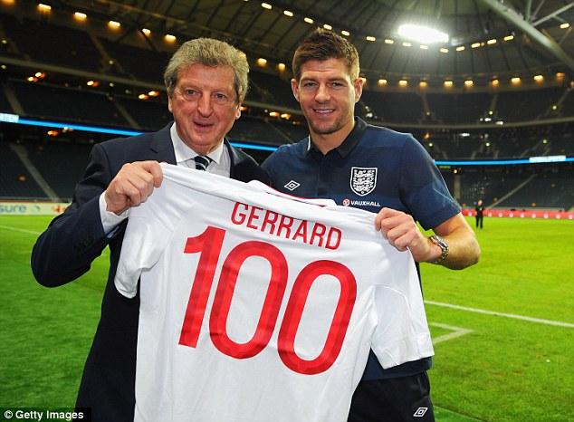 Centurion: Steven Gerrard won his 100th England cap in the friendly defeat against Sweden