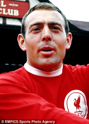 Colour pic of Liverpool's Ian St John from 1967