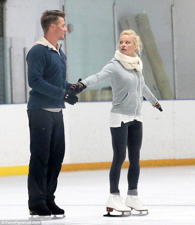 Training in the US: Pro skater Matt Evers has had to jet to the US to rehearse with Pamela