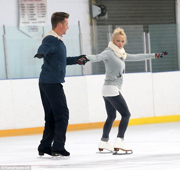 Get your skates on: Pamela Anderson gives it her all as she rehearses for Dancing On Ice in San Diego