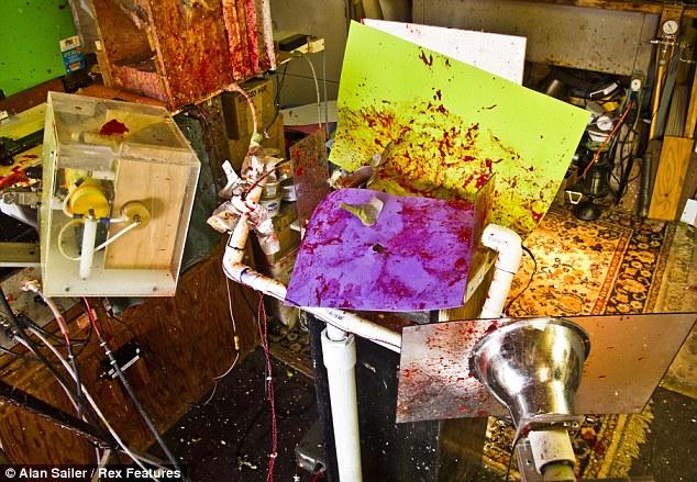 The artist's studio looks like something from a horror film