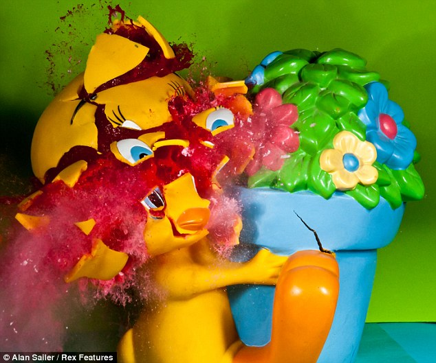 Tweety Pie clings on to a flowerpot for dear life as he is destroyed with firecrackers