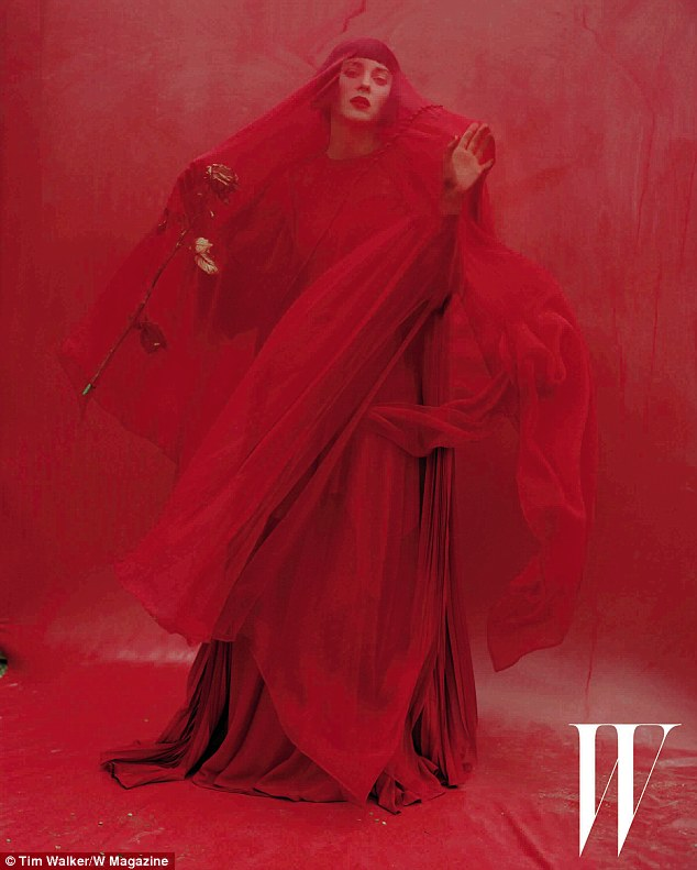Signature red: Marion wears some signature red Valentino in the photo shoot
