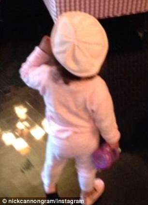 Pretty in pink: The toddler wore a cute outfit with matching beret
