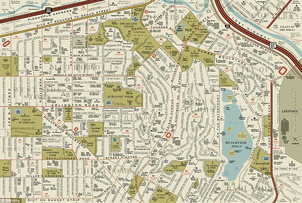 The real life locations: Only four are both Hollywood film titles and Hollywood street names: Sunset Boulevard, Hollywood Boulevard, Mulholland Drive and Sunset Strip