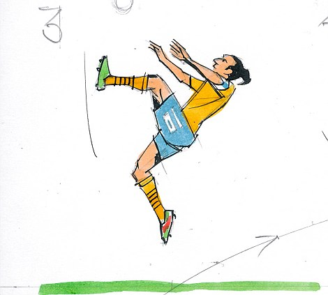 3: The left foot's rapid upward swing gets him airbourne