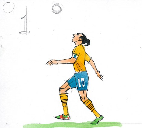 1: Quick of thought and totally focused, he sights the ball and bends his knees to prepare