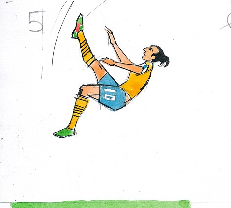 5: The right foot strikes the ball in a looping goal-bound trajectory