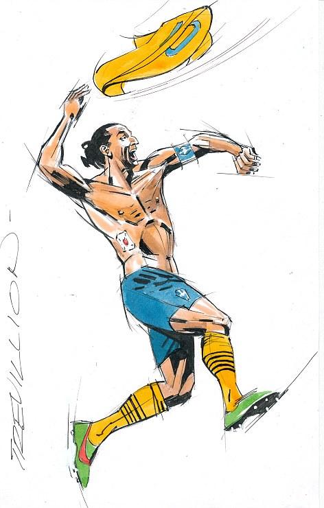 Main man: Zlatan Ibrahimovic celebrates his goal