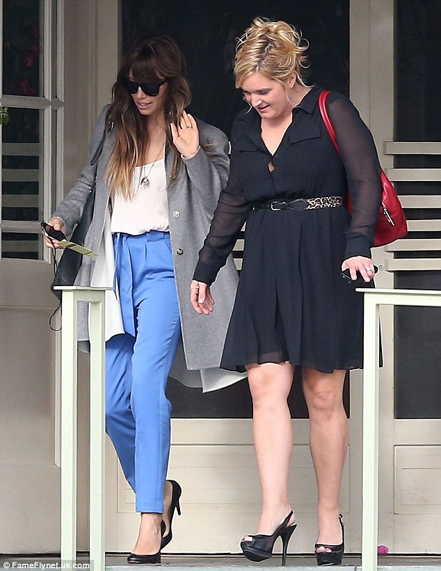 Ladies who lunch: The star and her friend go glam for their lunch at the high-end bistro