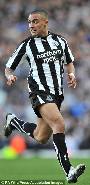 In action: Danny, pictured playing for Newcastle, broke up with his ex girlfriend before dating Tulisa