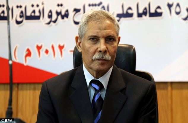 Resignation: Egyptian Transport Minister Rashad al-Mateeni, who resigned following today's tragedy