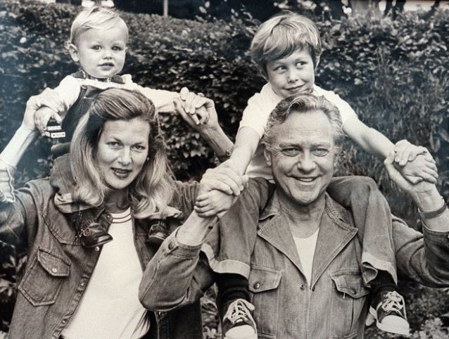 Blighted: Actor Richard Todd with wife Virginia and sons Andrew and Seamus, left, who killed himself after taking Roaccutane