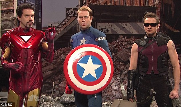 Parody: Renner (far right) also got to send up The Avengers