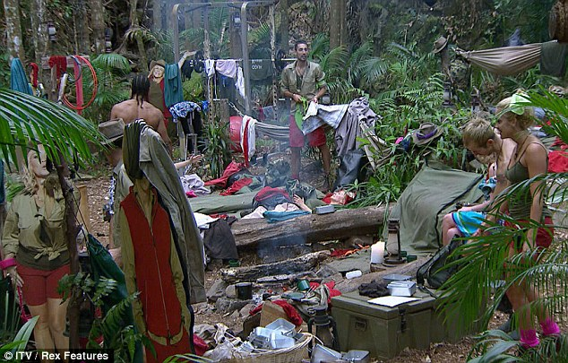 Hub of activity: There were scenes of chaos in the jungle camp as the celebrities woke up ready to face another Bush Buddies challenge