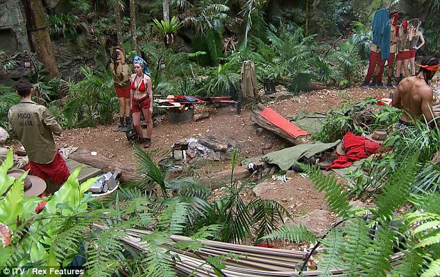 Woodland home: The celebrities have been in camp for over ten days now, and have settled in to jungle life