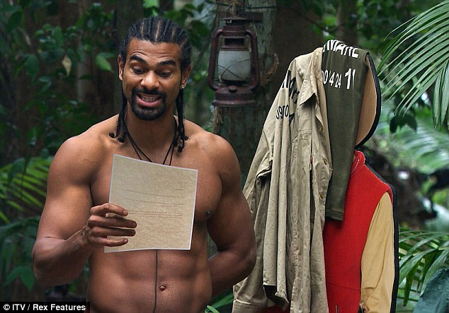 Joker: David Haye showed off his zany side when he read out some false instructions to the camp