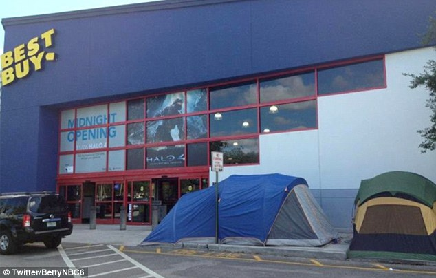 Early shoppers: Shoppers camp outside of a Best Buy store in Miami Florida