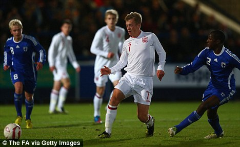 Rising star: The Saints youngster in action for the England Under 19s