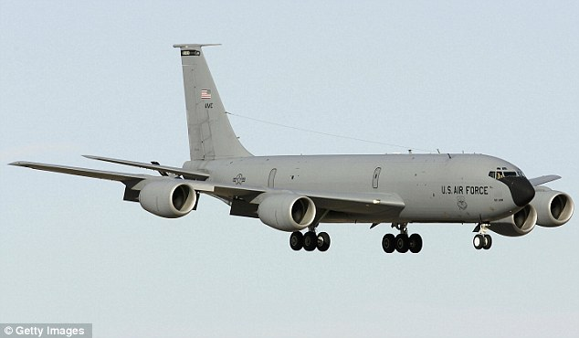 Tour: Kelley has travelled on a KC-135, pictured, which military staff use to show the public what they do