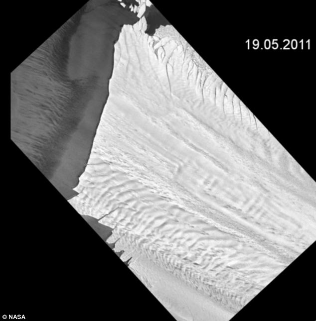 When scientists first began studying the Antarctic iceberg, the crack was hardly visible