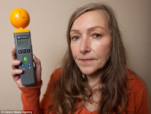 Velma with her electro sensor: She said she was forced to quit work because she can't bear being around computers