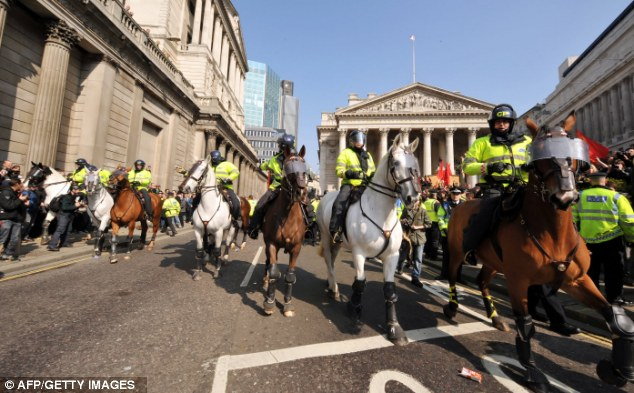 Mounted police push protesters away from a demo at the Bank of England in April 2009