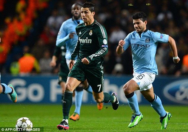 Know your role: Sergio Aguero had to battle back to dispossess Cristiano Ronaldo in the first half