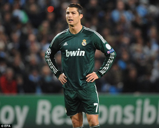 Relaxed: Ronaldo looked in the mood at the Etihad