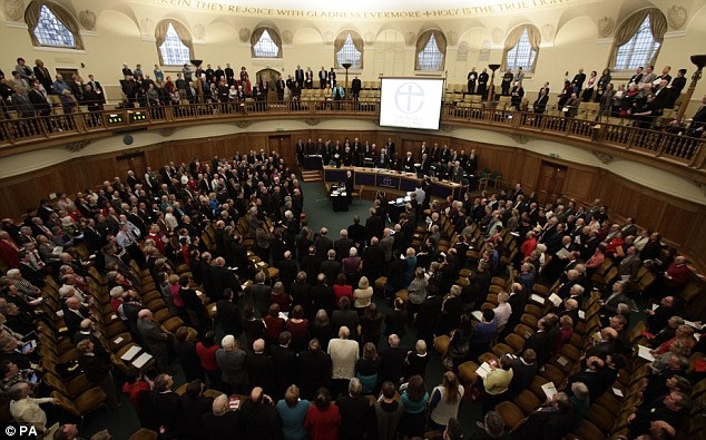 Rejection: A general view of the Assembly Hall of Church House, where a vote rejected legislation introducing the first women bishops
