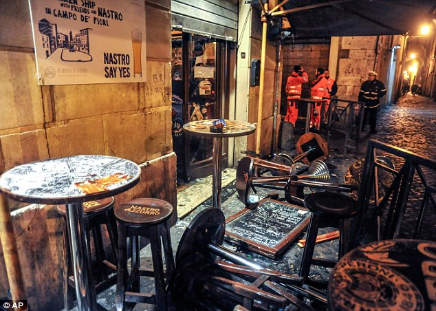 Overshadowed: Ultras ran amok in Rome's Drunken Ship pub on Wednesday night, injuring several Spurs fans