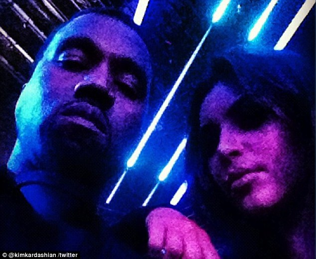 Me and my man: Kim posted a snap of her and Kanye in the audience