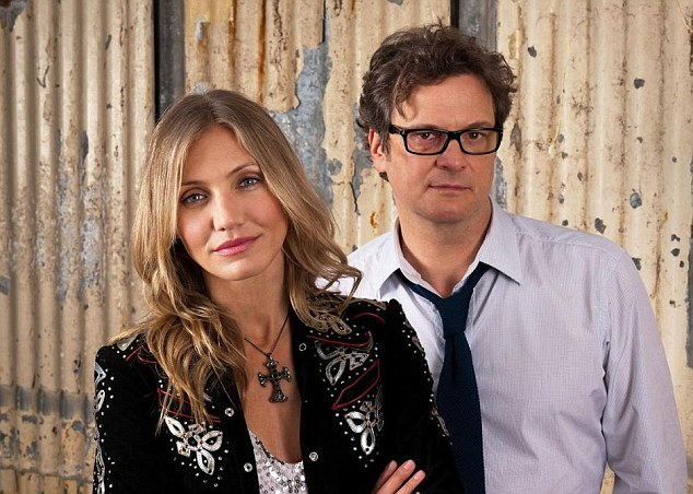 Leading lady: Cameron Diaz, pictured with her co-star Colin Firth, lights up the screen in Gambit but her character is less than one dimensional