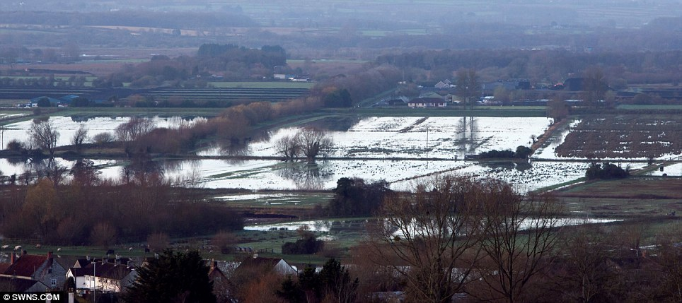 A damp start to winter: Flooded fields on the Somerset Levels near where Glastonbury is held