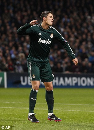Ronaldo reacts after a missed chance