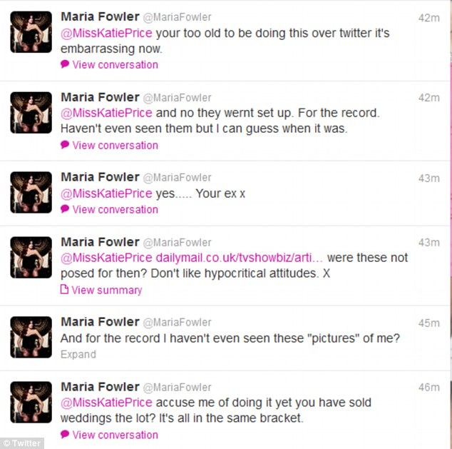 Hitting back: Maria took to Twiitter to hit back at Katie's allegations