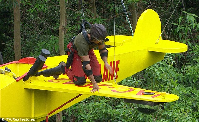 Flying high: He admitted he might 'scream like a girl' after realising he'd be so high up during the challenge