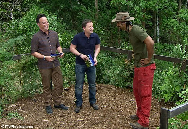 Taking it on: David happily approached Ant and Dec to find out what he would have to do to get his campmates meals